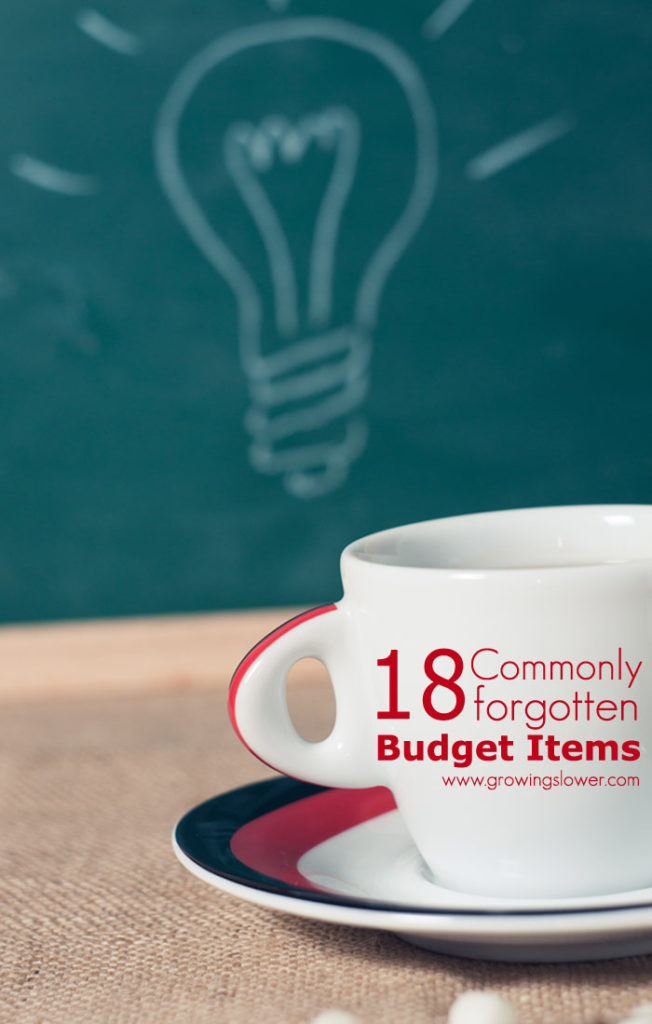 "Make sure you put these 18 commonly forgotten budget items into your personal budget. Plan ahead for these ""surprise"" expenses, and stick to your budget at last!"
