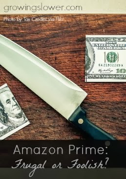Click to find out whether being an Amazon Prime member makes you frugal or foolish. www.growingslower.com #frugalliving #moneysavingtips