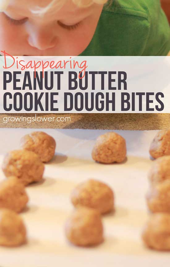 This peanut butter cookie dough bites recipe takes about 7 minutes to make and has just 6 healthy, natural ingredients. Perfect for a quick snack or breakfast, no baking required. But make a bunch, they disappear fast! Gluten Free | Dairy Free | Vegan