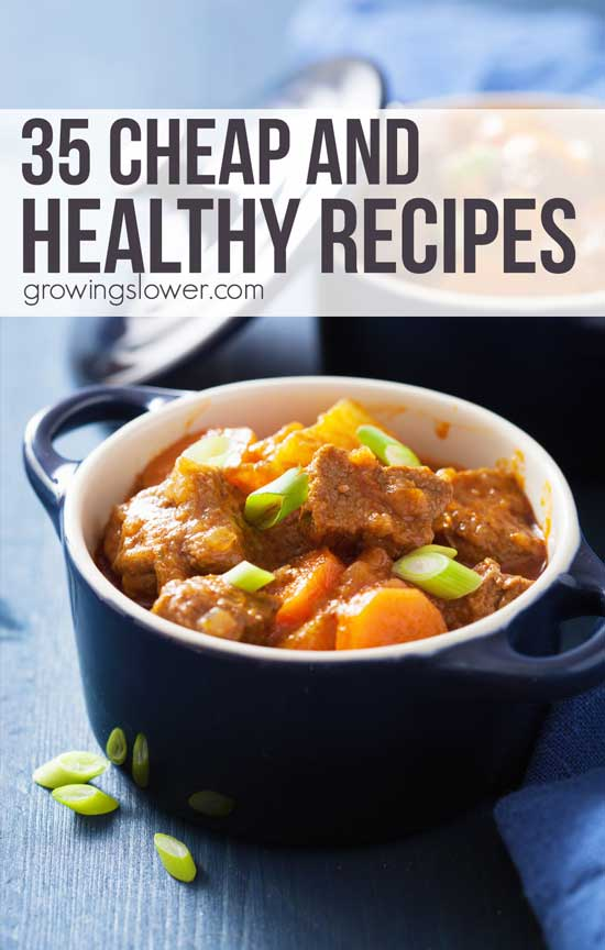 Save money on groceries without compromising your health with these cheap healthy recipes. Inspire your meal planning even on a tight budget with these 35 thrifty, real food meal ideas.