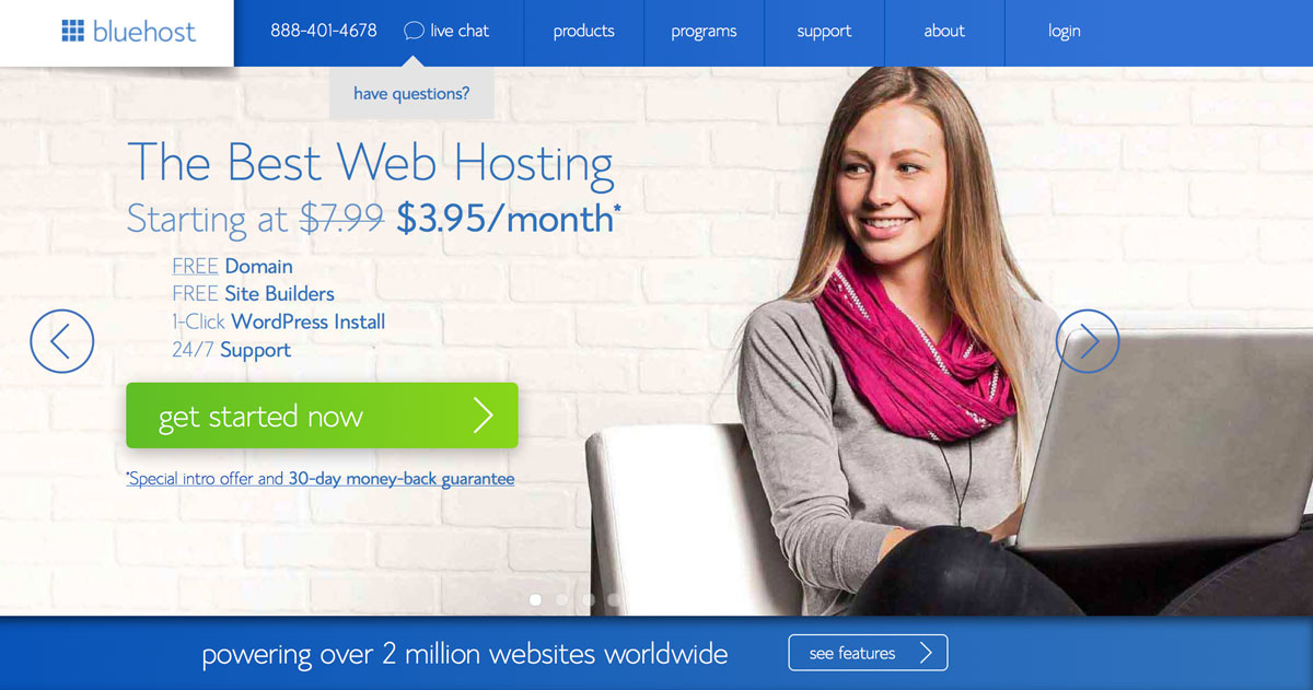 When you're ready to get started you can click the image to go to Bluehost to set up your hosting. once there, click on the green get started button to start your blog. Congratulations! You're on your way to making money as a blogger!