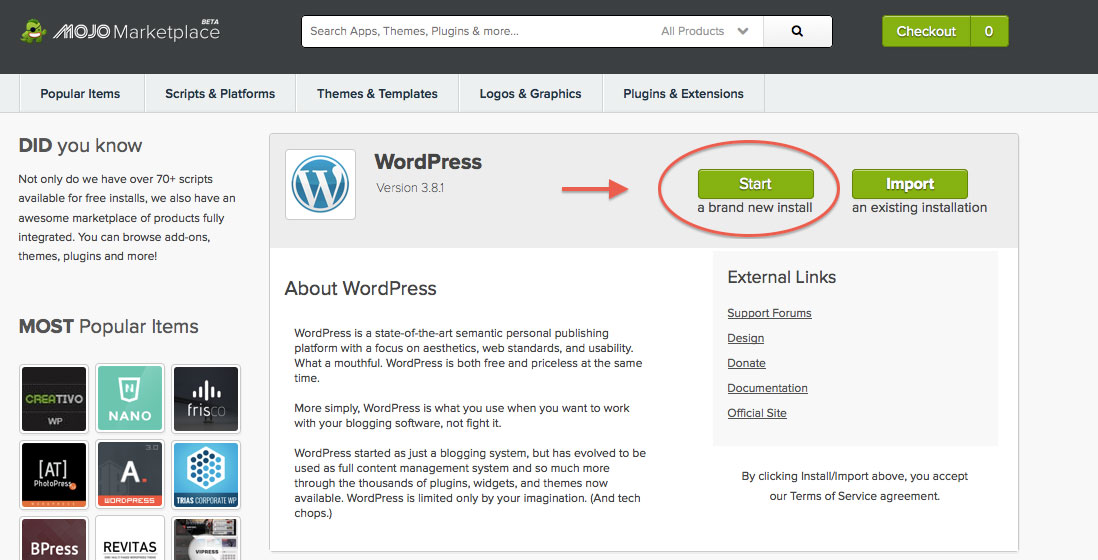 Installing WordPress on your blog is as simple as the click of a button! Almost there!