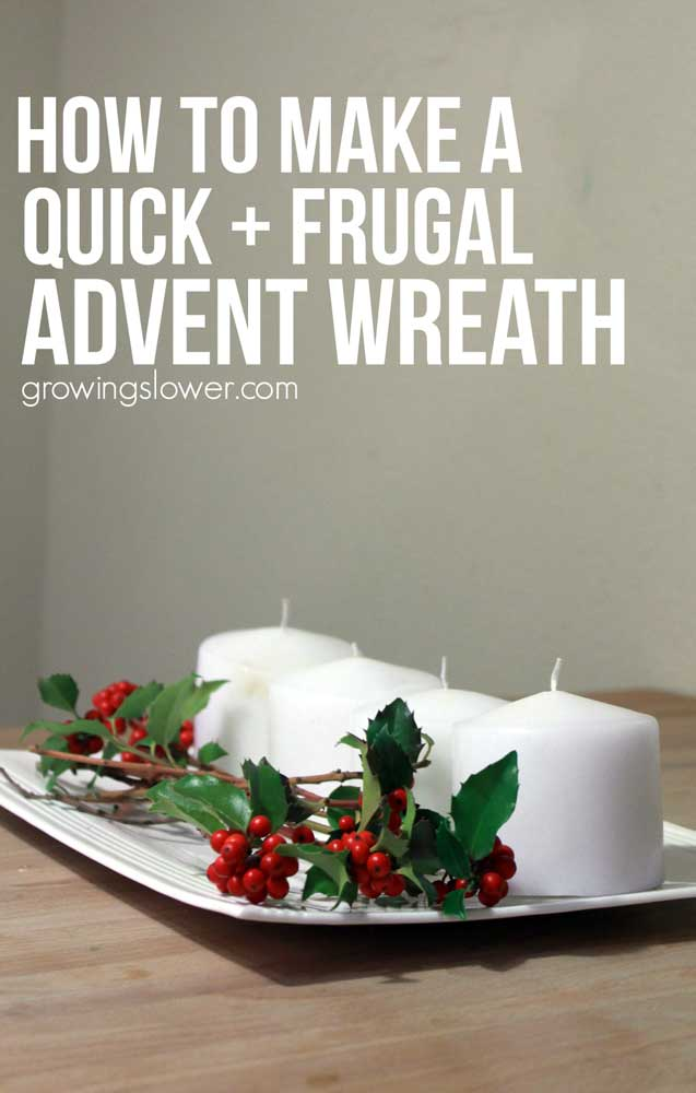 How to Make an Advent Wreath - This quick and simple tutorial will show you how to make an advent wreath to celebrate the Christmas season. It's flexible so you can easily craft your own DIY advent wreath on a budget, and even use materials you already have around the house. There's an explanation of the meaning behind advent and the candles with ideas to help you do your own modern spin with your homemade advent wreath. This is my favorite new family tradition for Christmas!