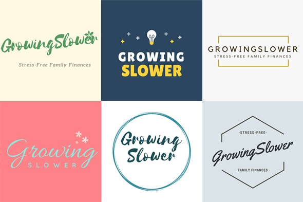 I had a blast creating these alternativelogos for GrowingSlower in Canva, and it took me literally 2 minutes to make each one.