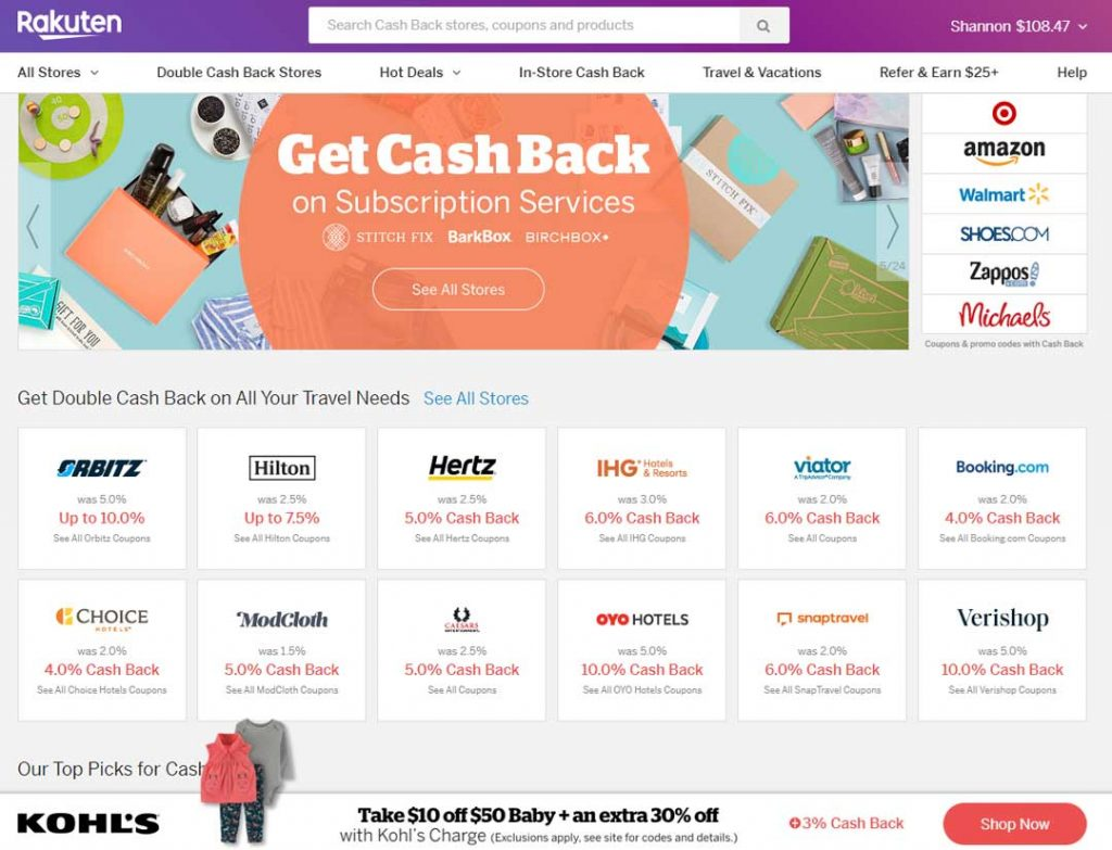Shopping through Rakuten, is one way you can get free cash back on stores you shop at anyway like Target, Amazon, Walmart, and many more.