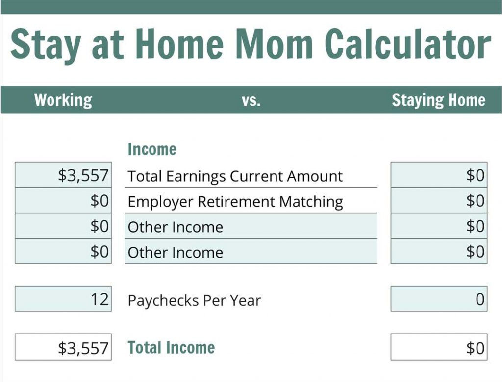 The Stay at Home Mom Calculator Income Section