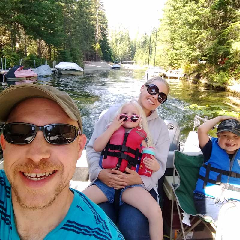 Money coach, Shannon Clark, enjoying a debt-free week at the lake with her family.