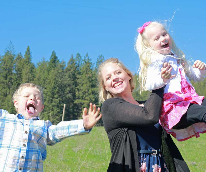 Budget consultant, Shannon Clark, with her two children on Mother's Day.